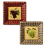 Grasslands Road in Vino Veritas Ceramic Square Appetizer Plate Assortment 6-Inch Set of 4