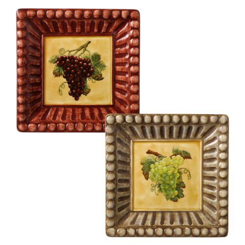 Grasslands Road In Vino Veritas Ceramic Square Appetizer Plate Assortment, 6-Inch, Set Of 4