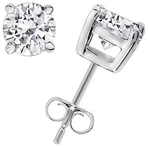 2.00 Carat Diamond Stud Earrings 4 Prong H-I SI