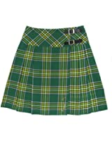 Kilt/jupe portefeuille plissée - tartan Irish - long. 51 cm - vert