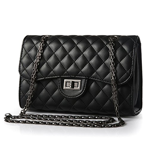 Ryse Womens Fashionable Classic Exquisite Metal Buckle Chain Handbag Shoulder Bag(Black)