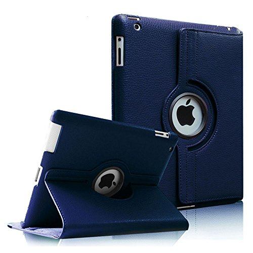 Fintie 360 Degree Rotating Stand Smart Cover PU Leather Case for Apple iPad 4th Generation Retina Display / the new iPad 3 / iPad 2 (Wake/sleep Function) - Navy (Stand Ipad 4 compare prices)