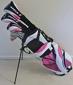 """New Ladies Complete Golf Club Set for Petite Women 5'0""""-5'5"""" Tall Driver, Fairway, Wood Hrbrids, Irons, Putter, Stand Bag Premium Model"""