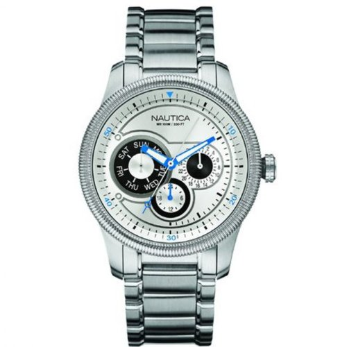 Nautica Mens Watch A16515G NCS 500 Chrongrapoh White Dial and Silver Bracelet
