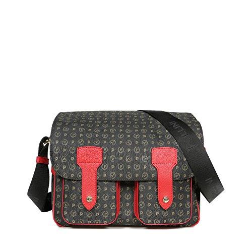 Borsa a spalla con tracolla Pollini linea tapiro monogramma nero e rosso TE8401PP02Q1100B