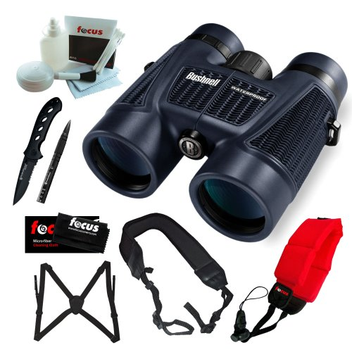 Bushnell 150142 H2O 10X 42Mm Roof Prism Binoculars, Clam Pack + Tactical Pen With Free Sw Oasis Knife + Accessory Kit