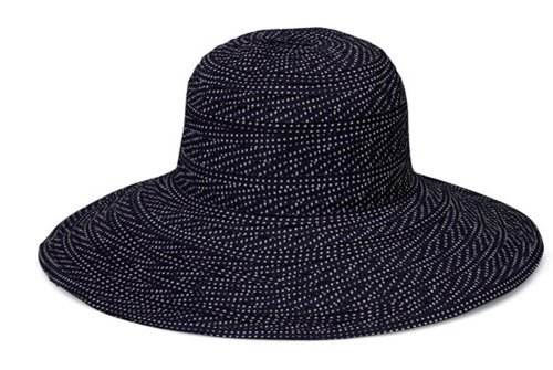 Womens Wallaroo Scrunchie UV Sun Hat - UPF50+ Sun Protection - Adjustable & Packable - Black/White Dots, Adjustable up to 58 cm