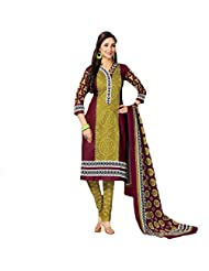 Sonal Trendz Green & Maroon Color Pure Cotton Dress Material.Casual Wear Pure Cotton Suit.