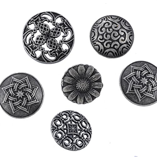 Souarts Mixed Antique Silver Color Pattern Engraved Metal Buttons Pack of 50pcs (Buttons For Clothes compare prices)