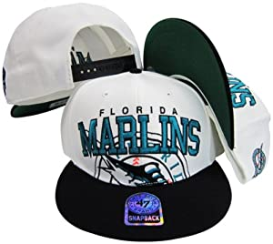 Florida Marlins Two Tone Big Logo Plastic Snapback Adjustable Plastic Snap Back Hat... by Twins