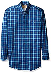Wrangler Men's Big and Tall Western Classic Long Sleeve Woven Shirt, Navy/Teal, Tall/Large
