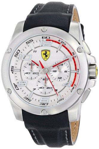 Ferrari 0830090 46 mm de acero inoxidable para hombre piel de color negro para hombre reloj Mineral