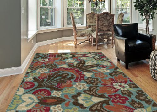 Universal Rugs 1006 Deco 3-Piece Transitional Area Rug Set, 5 by 7-Feet/20 by 60-Inch/20 by 32-Inch, Blue