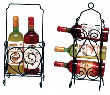Set of 2 Vintage Tuscan Wine Rack & Bottles Christmas Ornaments