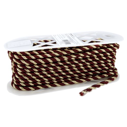 Wrights Metallic Twist Cord 12 Yards-Burgundy/Gold 186 8774-812