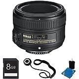 Nikon 50mm F 1.8G AF-S NIKKOR Lens Bundle For Nikon Digital SLR Cameras 2199 With 8GB Secure Digital SD Memory Card 3pc. Lens Cleaning Kit And Lens Cap Keeper