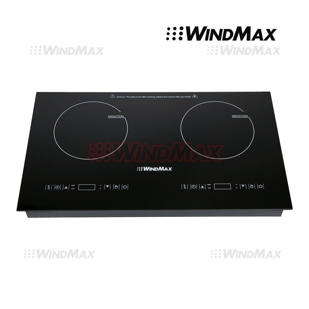 WindMax® Hot 28 inch Fixed Glass Plate Timmer Induction Hob 2 Burner Stove Cooktop 240V 4000W