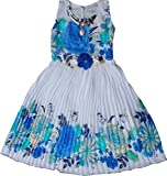 MPC Cute Fashion Baby Girls Princess Sifone Party Wear Flower Dress (Ba202161013_Sifone_Blue_12 - 18 Months)