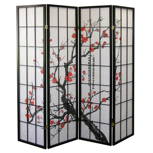 Purchase ORE International Black 4 Panel Plum Blossom Screen Room Divider