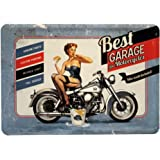 Blechschild Motorrad Sexy Pin Up Girl Best Garage Postkarte Blechkarte 10 x 14 cm Reklame Retro Blech PK33