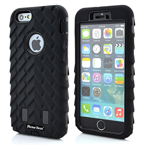 RoseBox® iPhone 6 Plus Case Apple iPhone 6 Plus Case 5.5 Case Inch Dual Layer Hybrid Hard Soft Combo Silicone Tire Stripe Protective Bumper Case for Apple Iphone 6 plus(5.5 inch) (Black &Black Tire Stripe case)
