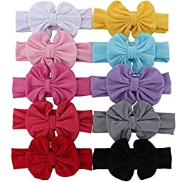 QingHan Baby Girl Big Bows Cotton Stretch Headbands For Teens babies toddlers hair bands Pack of 10
