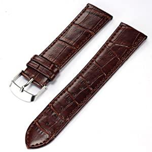 KS 22mm Military Brown PU Leather Mens Replacement Watch Band Straps WB2212