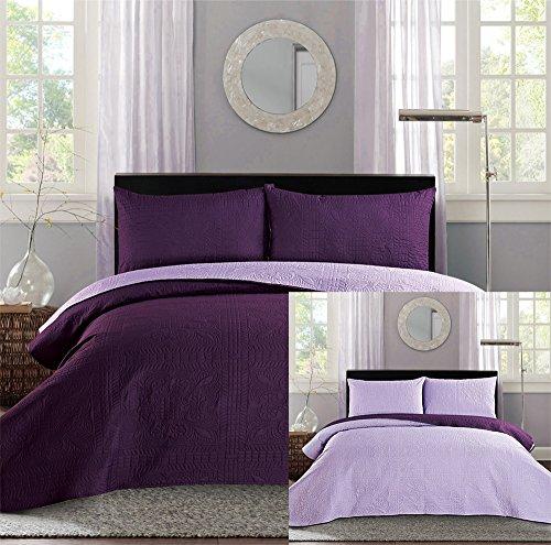 new king cal king bed luxury 3 piece purple reversible bedspread coverlet set solid embossed. Black Bedroom Furniture Sets. Home Design Ideas