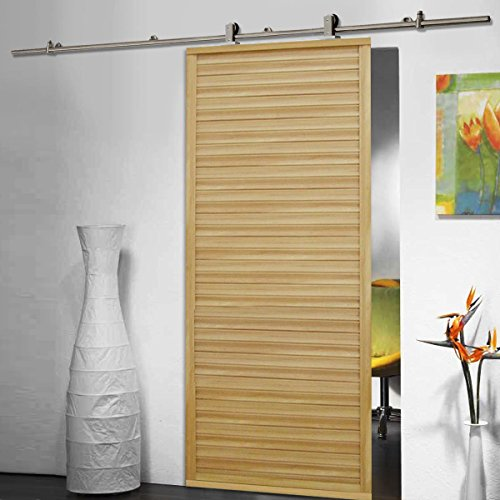 6.6 FT Modern Stainless Steel Sliding Barn Wood Door Closet Hardware Track Set (Cars Door Hinges Lift compare prices)