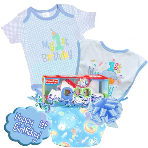 "Little Wishes ""Happy 1st Birthday"" Deluxe Baby Boy Gift Basket Featuring Bodysuit, Bibs and Toys (Blue)"