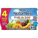Nestlé Bébé Naturnes Fruits du Soleil Compote dès 8 mois 4 x 130 g - Lot de 3 (12 pots)