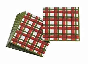 Pierre Belvedere Home 3-Ply Christmas Cocktail Beverage Napkins, Nostalgia Plaid, 20-Count