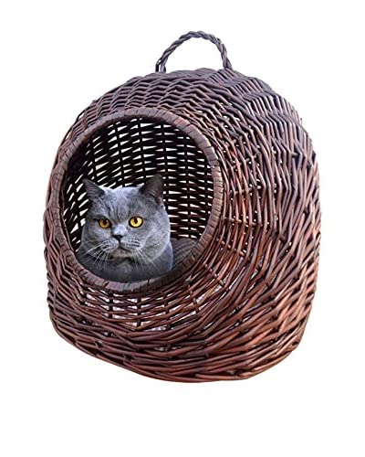 Home Bazaar Round Wicker Cat House, Chocolate