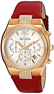 Bulova Women's 97M108 Crystal Analog Display Japanese Quartz Red Watch