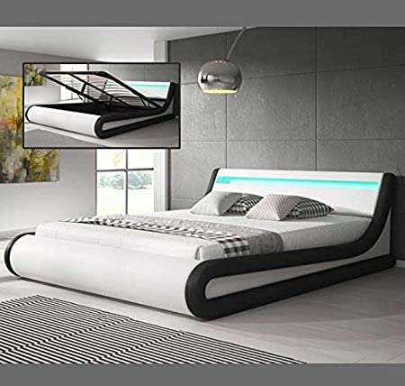 Muebles Bonitos – Cama Canape de matrimonio Parisina en color blanco y negro (180x200cm)
