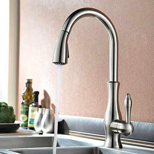 KES Kitchen Faucet Pull Down Spray Single Handle Traditional Style Single Hole Bar Sink Water Mixer Tap with Pull Down Sprayer Swivel High Arc Gooseneck Spout, Brushed Nickel, L6915-2 (Water Mixer Tap compare prices)