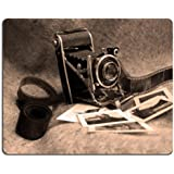 Old Camera with Films Mouse Pads Customized Made to Order Support Ready 9 7/8 Inch (250mm) X 7 7/8 Inch (200mm) X 1/16 Inch (2mm) High Quality Eco Friendly Cloth with Neoprene Rubber MSD Mouse Pad Desktop Mousepad Laptop Mousepads Comfortable Computer Mouse Mat Cute Gaming Mouse_pad