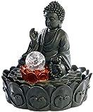 """infactory Beleuchteter Zimmerbrunnen """"Lotus-Buddha"""" mit Glaskugel"""