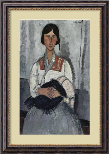 Gypsy Woman With Baby 1919 By Amedeo Modigliani Framed front-690363