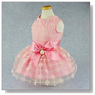 Fitwarm Fairy Pink Princess Pet Clothes for Dog Tutu Wedding Dress Shirts, Pink, Large