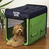 Guardian Gear Collapsible Dog Crate, Medium, Lime Green/Blue