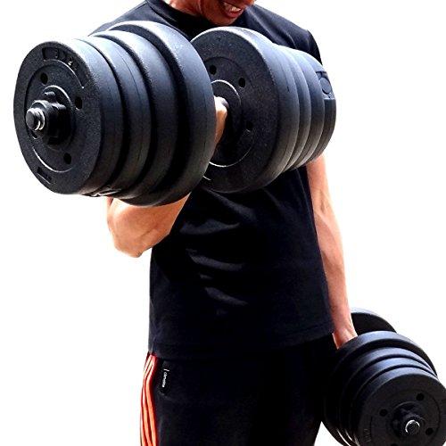 ダンベル 40kg (20kg 2個セット 合計40kg) 【筋力トレーニング/ダイエット/シェイプアップ/ポリエチレン製/静音/トレーニングに集中】 (ブラック)