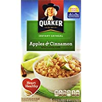 4-Pack Quaker Instant Oatmeal, Apples & Cinnamon, Breakfast Cereal, 10 Box