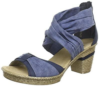 rieker 69081 14 damen sandalen blau denim adria 14 eu 36 schuhe handtaschen. Black Bedroom Furniture Sets. Home Design Ideas