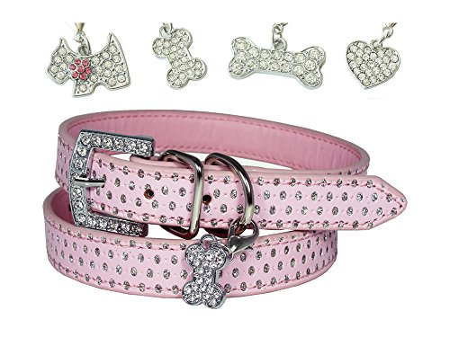 Dogaholics Bling Silver Polka Dot Pet Dog Cat Adjustable PINK Leather Collar with Rhinestone Buckle & Pendant Large Extra Large L XL (XL)