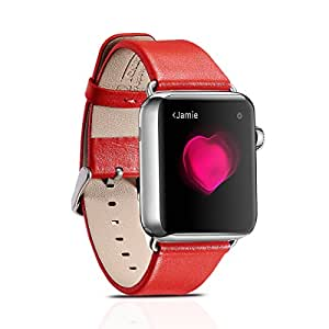 Apple Watch Leather Band, Icarercase [Luxury Genuine Leather Series] Replacement Strap Apple iWatch Wrist with Stainless Steel Buckle for Apple Watch-B38-Red 38mm