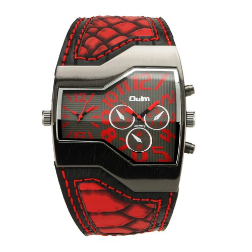 Muchbuy Fashion Oulm Russian Army Military Dual Time Mens Sports Wrist Watch Red