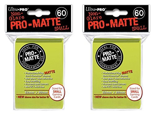 120 Ultra Pro Bright Yellow SMALL PRO-MATTE Deck Protectors Sleeves Colors Yugioh Vanguard [2 Packs of 60] - 1