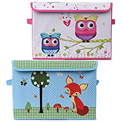 Diwali Gift for Kids Pink & Blue Foldable Storage and Toy Box - Set of 2 (KSB-1081-1083-COM)