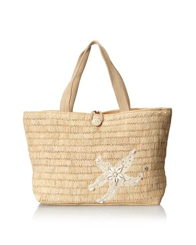 Florabella Women's Trinidad Woven Raffia, Leather and Shell Tote, Natural/Ivory
